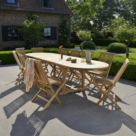 Salon de jardin en bois de teck 10 à 12 places -