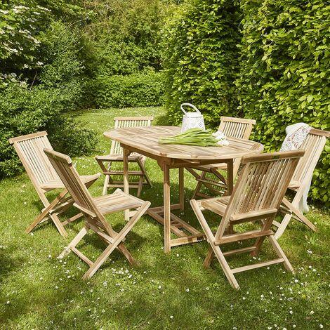 Salon de jardin en bois de teck 4 à 6 places -