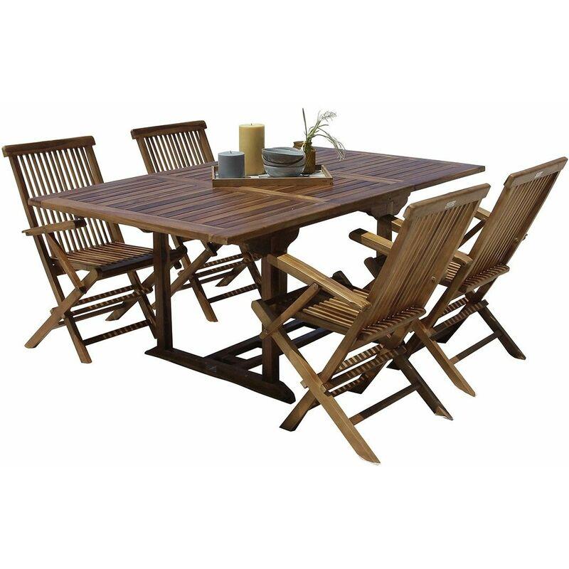 Salon de jardin en bois de teck 4 à 8 places