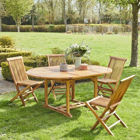 Salon de jardin en bois de teck 4 à 8 places -
