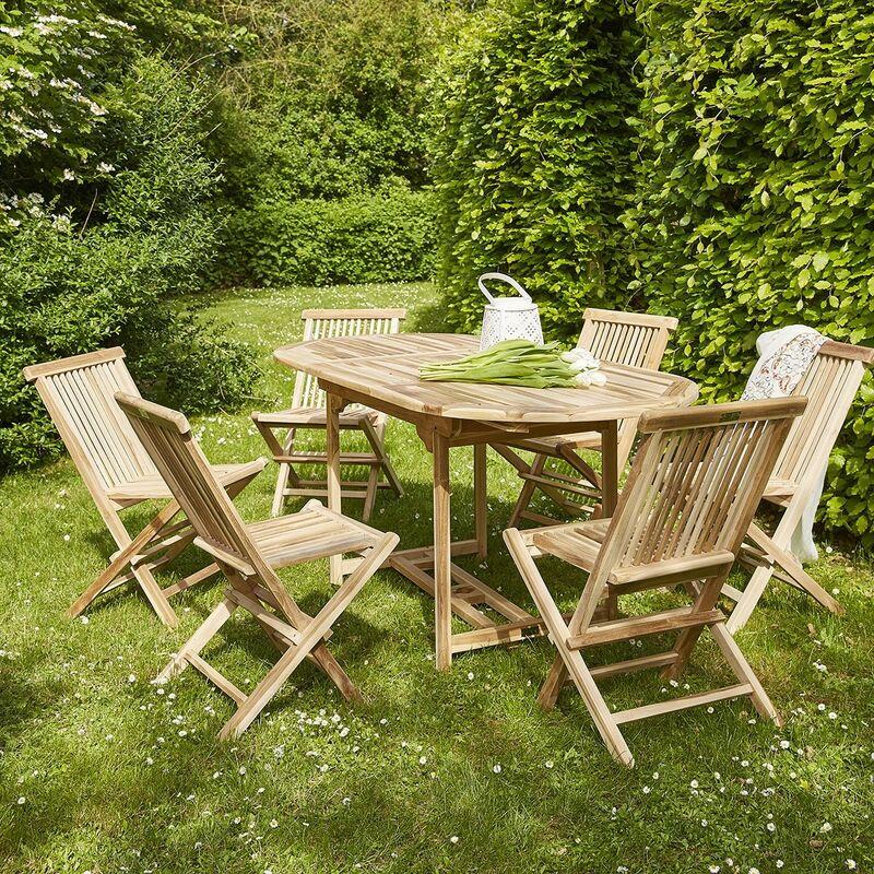 Salon de jardin extensible en teck 4 à 6 places - Marron