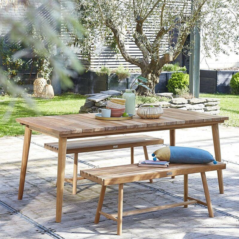 Bois Dessus Bois Dessous - Salon de jardin en teck 6 à 8 places - Marron