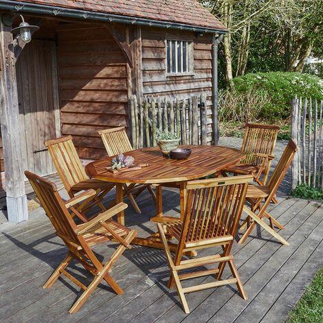 Salon de jardin en bois de teck 6 à 8 places -