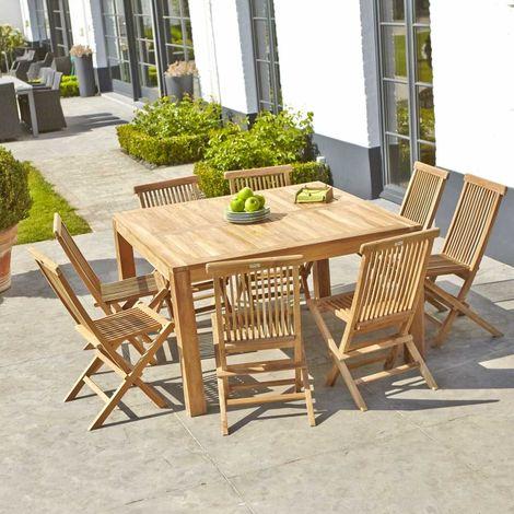 Salon de jardin en bois de teck 8 places -