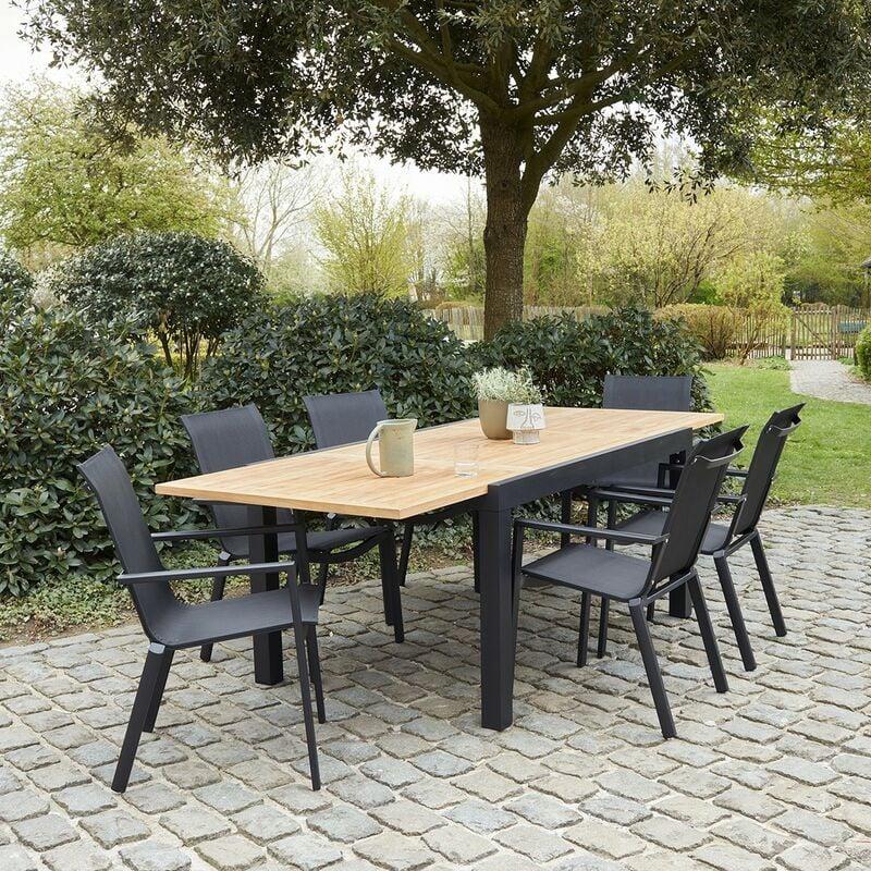 Salon de jardin extensible en aluminium et teck 6/10 places - Naturel