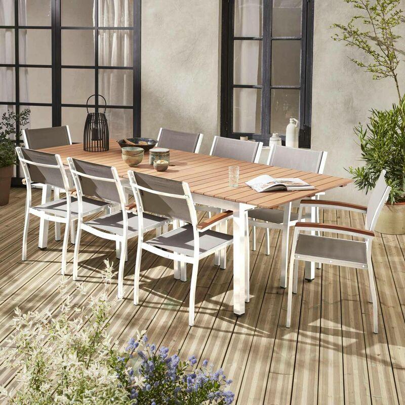 Salon de jardin en bois et aluminium Sevilla, grande table 200-250cm avec  allonge papillon, textilène gris taupe