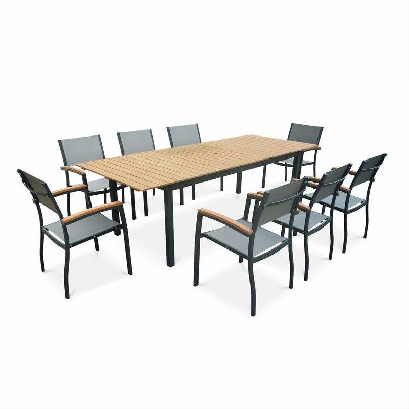 Salon de jardin en bois et aluminium sevilla grande table - Table de jardin alu et bois composite ...
