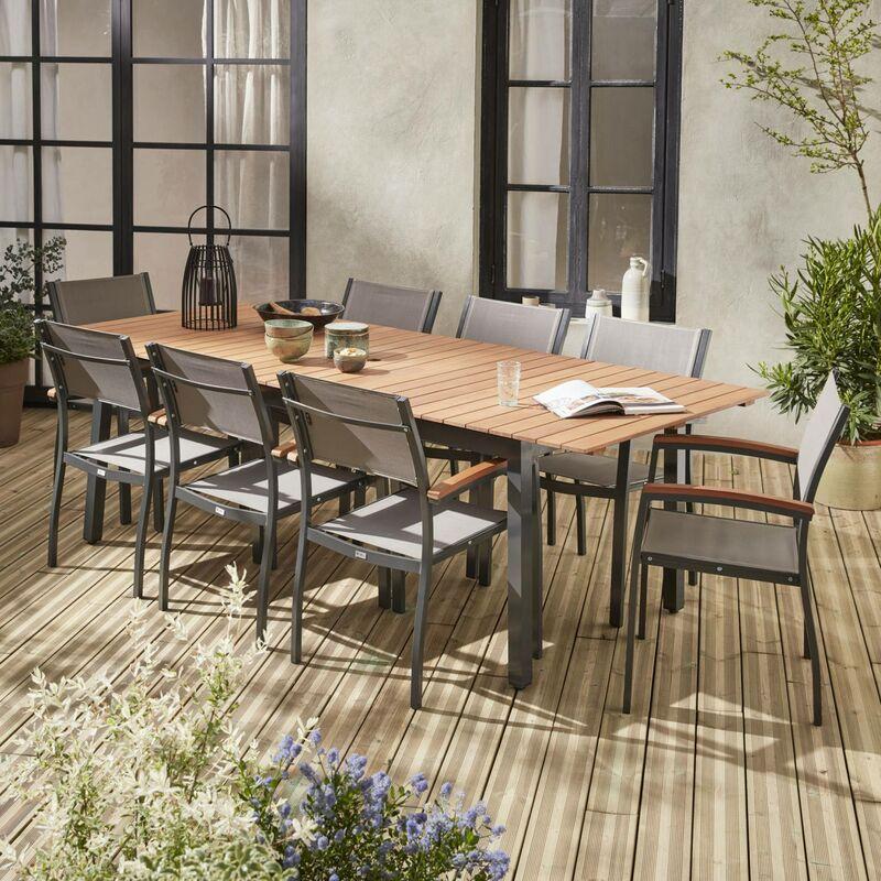Salon de jardin en bois et aluminium Sevilla, grande table 200-250cm  rectangulaire avec allonge papillon, textilène gris taupe