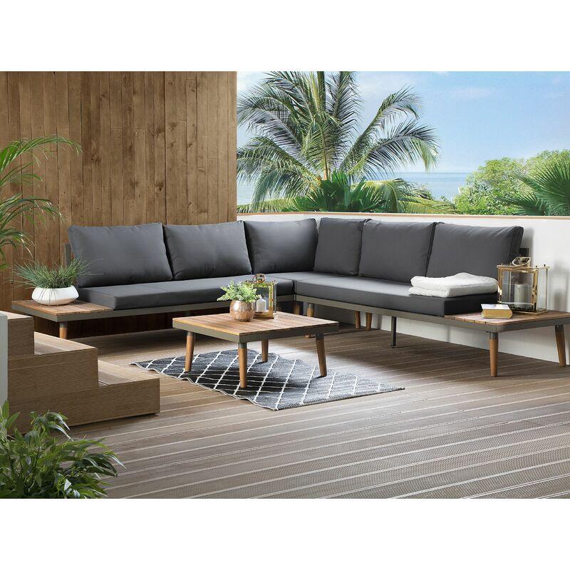Salon de jardin en bois gris CORATO