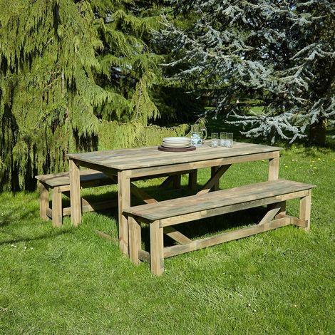 Salon de jardin en bois Normand 6 places -