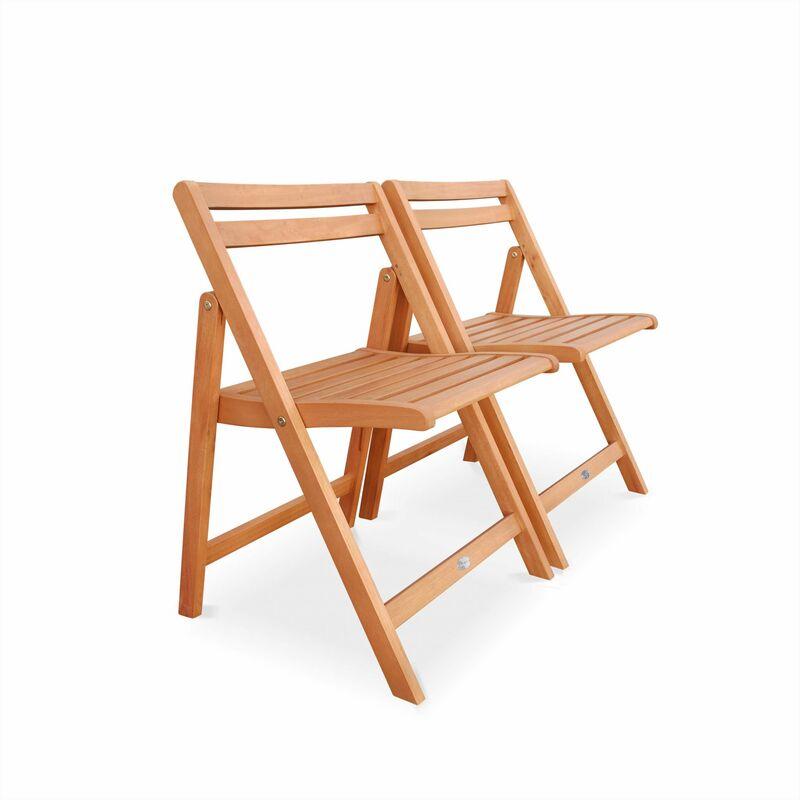 Salon de jardin en bois pliable Merida, table rectangle pliable 100x82cm  avec 4 chaises pliantes