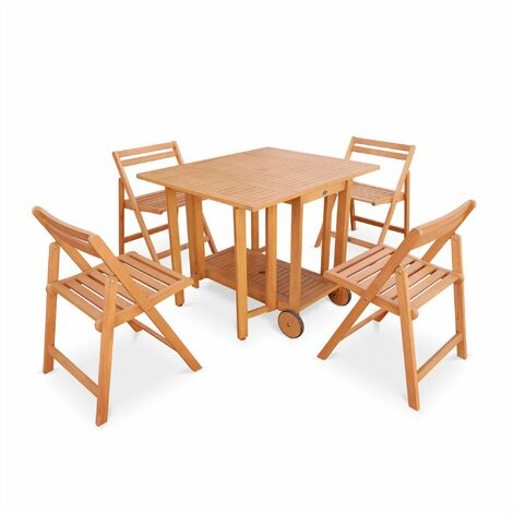 Salon de jardin en bois pliable Merida, table rectangle ...