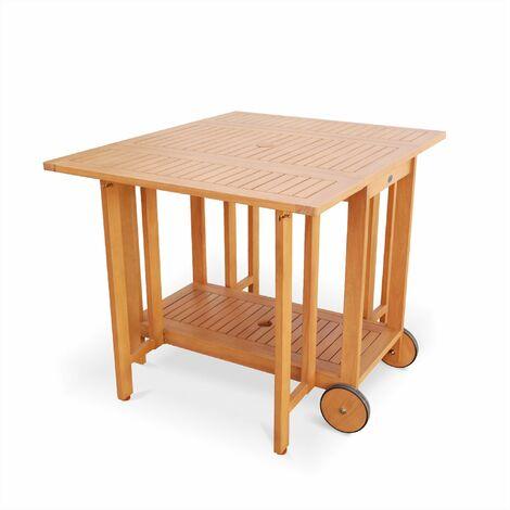 Salon De Jardin En Bois Pliable Merida Table Rectangle 100x82cm Avec 4 Chaises Pliantes