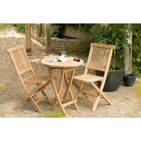 SALON DE JARDIN EN BOIS TECK 2 personnes : Ensemble de jardin - 1 Table ronde pliante 60 cm et 2 chaises - Marron