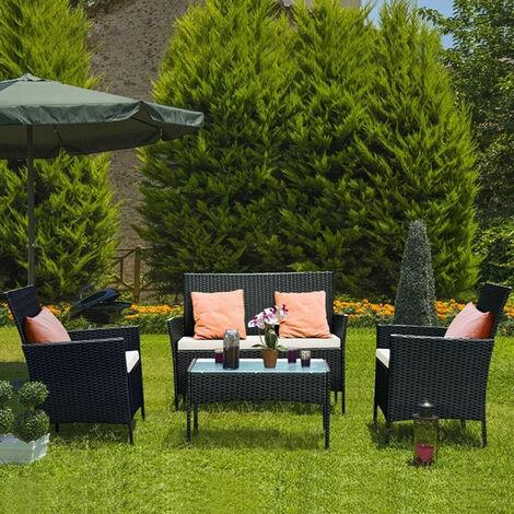 """main image of """"Salon de jardin en imitation résine tressée, Ensemble de 4 meubles de jardin en rotin Noir"""""""