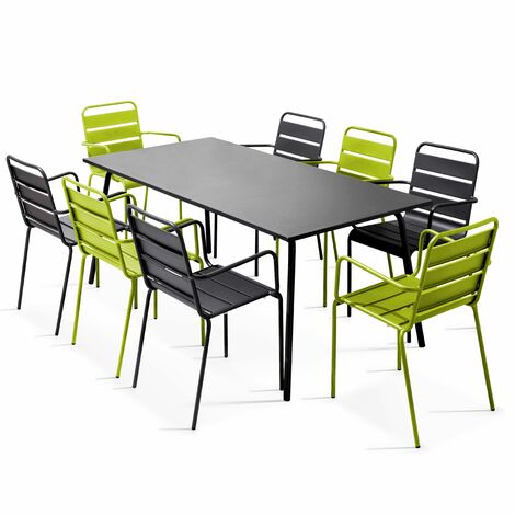 Salon de jardin en métal 1 table et 8 fauteuils