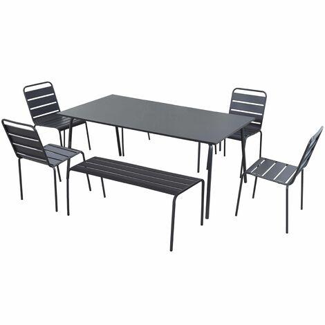 Salon de jardin en métal 2 bancs et 4 chaises - Gris - 105034