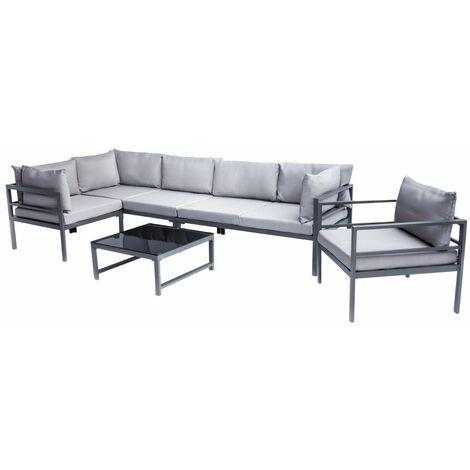 Salon de jardin en métal avec table, canapé d\'angle et fauteuil ...