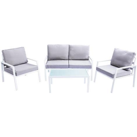 Salon de jardin en métal blanc avec table, banc et 2 ...