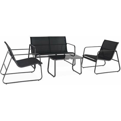 Salon de jardin en métal et textilène pour 4 personnes. noir. design
