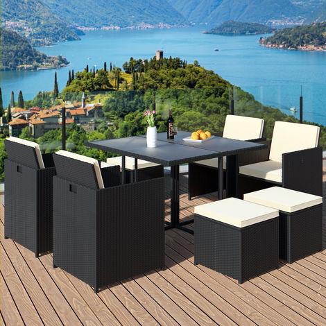 Salon de jardin en polyrotin - 21 pièces - Ensemble table chaises tabourets