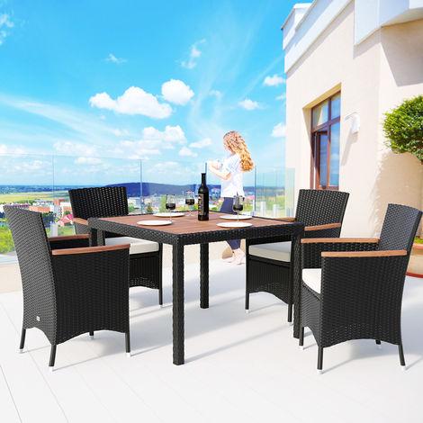 Salon de jardin en polyrotin 4 1 Noir crème Ensemble table et ...