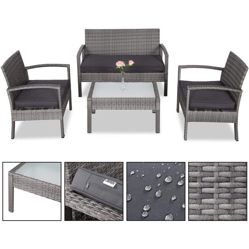 Salon de jardin en polyrotin gris 7 pièces chaises banc coussins ensemble lounge