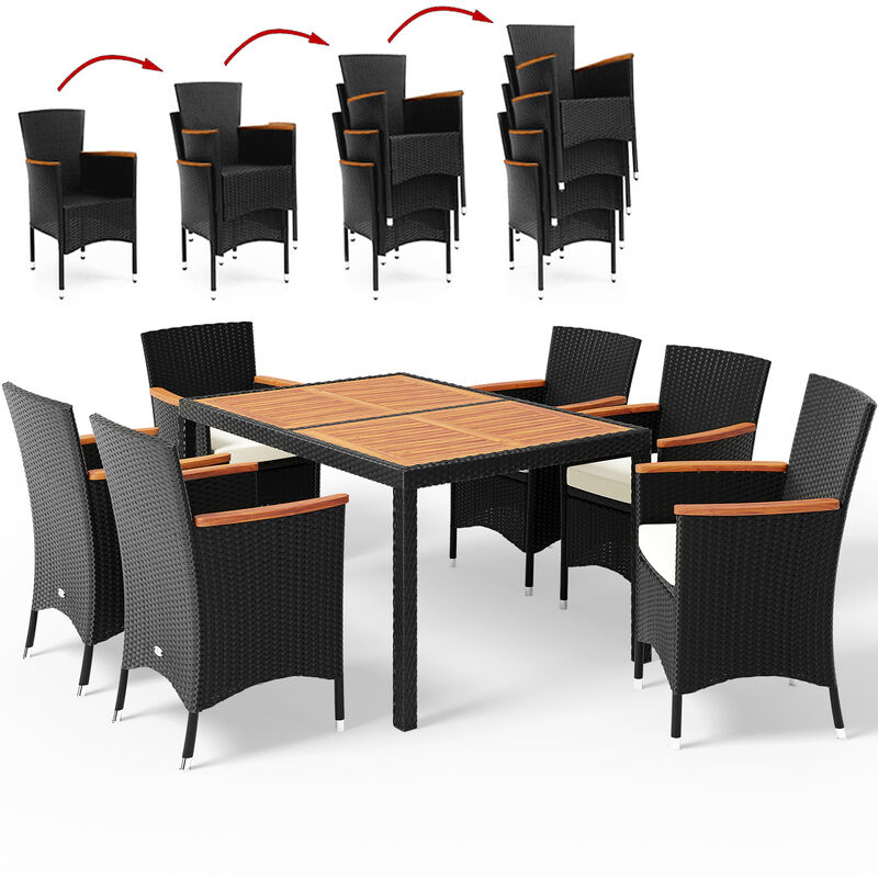 Salon de jardin en polyrotin Verona 6+1 table et chaises ensemble de jardin