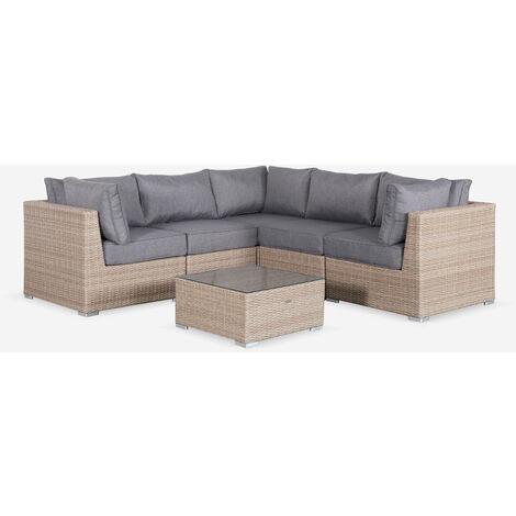 Salón de jardín en Resina tejida redondeada Natural gris - VITTORIA - Gris