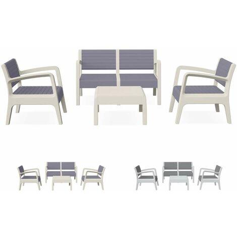 Salon de jardin en résine exterieur cafè bar table coussins dossier ...