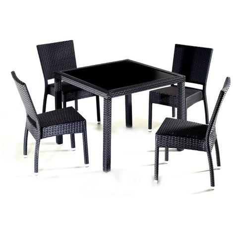 Salon de jardin en résine table carré 4 personnes
