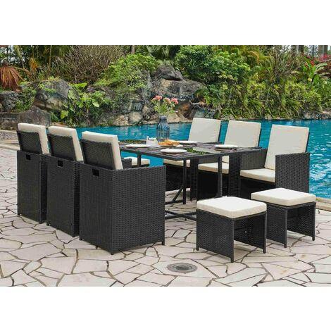 Salon de jardin en résine tressé ensemble table + 6 fauteuils + 4 poufs SYDNEY