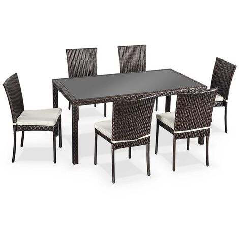 Salon de jardin en résine tressée 6 chaises, Chocolat, table d ...