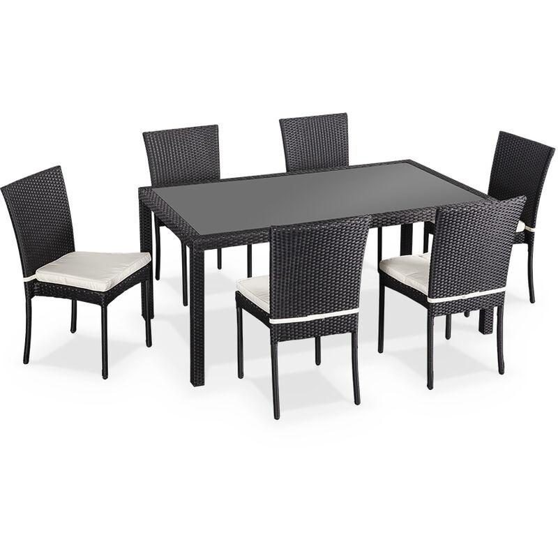 Salon de jardin en résine tressée 6 chaises, Noir, table d\'extérieur ...