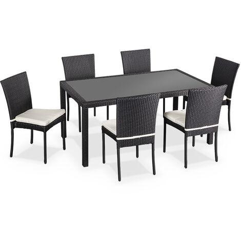 Salon de jardin en résine tressée 6 chaises, Noir, table d ...