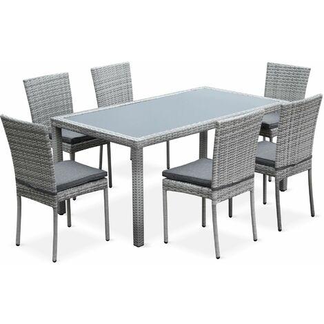 Salon de jardin en résine tressée 6 chaises, Nuances gris ...