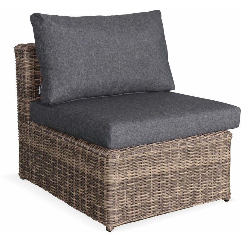 Salon de jardin en résine tressée arrondie 5 places Romini Naturel Coussins  gris - méridienne, pouf, fauteuil