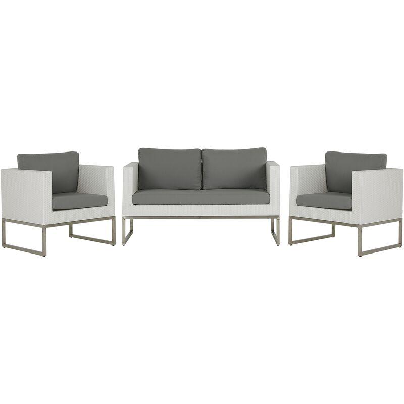 Beliani - Salon de jardin 4 places en rotin blanc avec coussins gris CREMA