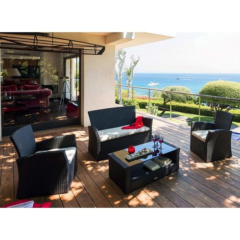 Salon de jardin en résine tressée Bora Bora Noir - Hespéride - 141449