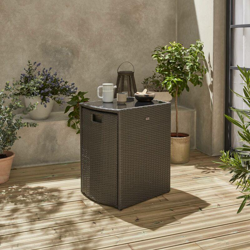 Salon de jardin en résine tressée gris encastrable Doppio, pour balcon et  terrasse