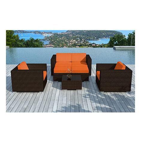 Salon de jardin en résine tréssée marron coussins oranges - LIVOURNE