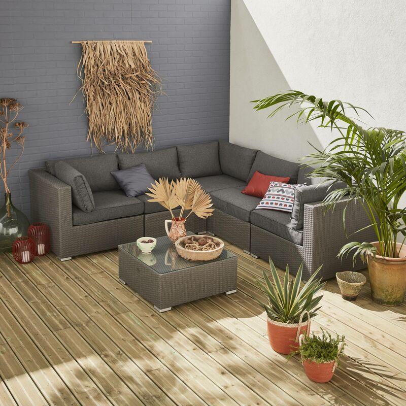 Salon de jardin en résine tressée - Napoli - Gris brossé, Coussins Gris  chiné - 5 places