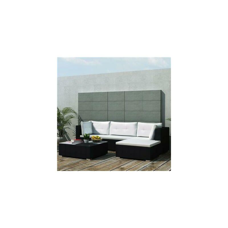 Xl Destock - Salon de jardin en résine tressée noir Modulo
