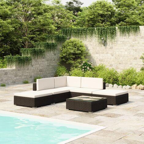 Salon de jardin en résine tressée noire 15 pièces