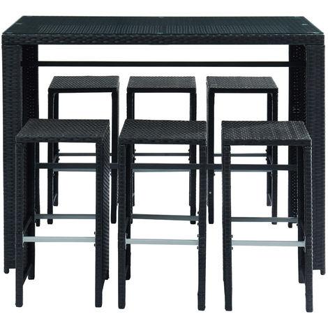 Salon de jardin en résine tressée noire avec table et 6 ...