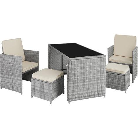 Salon de jardin en résine tressée PALERME 4 Places - mobilier de jardin, meuble de jardin, ensemble table et chaises de jardin
