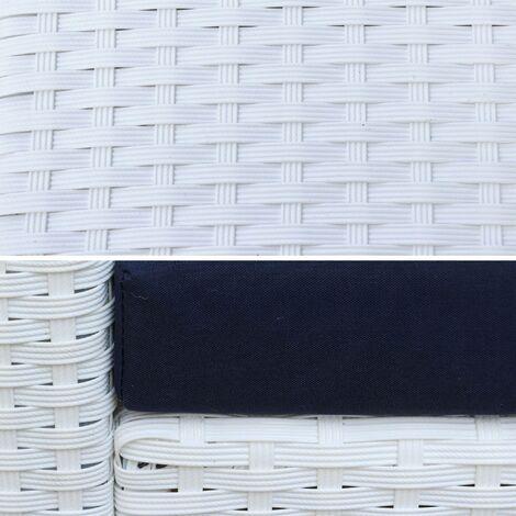 Salon de jardin en résine tressée - Perugia - blanc, Coussins bleus ...