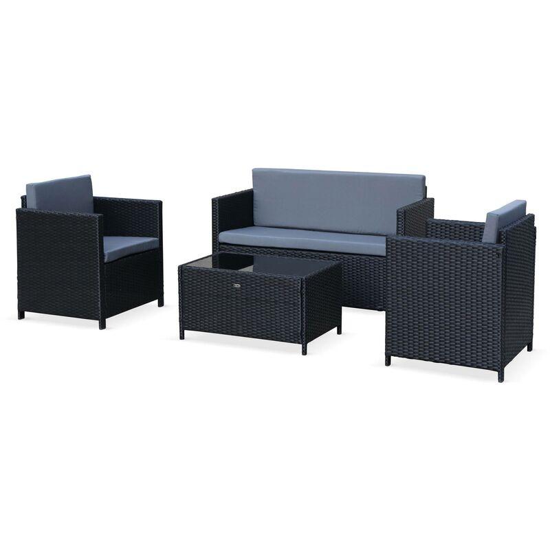Salon de jardin en résine tressée 4 places Perugia - 1 canapé. 2 fauteuils. une table basse Noir / Gris