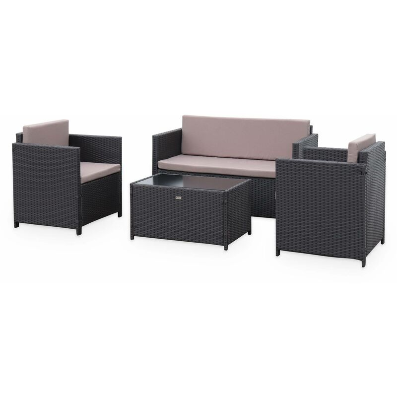 Salon de jardin en résine tressée 4 places Perugia - 1 canapé. 2 fauteuils. une table basse Marron / Marron