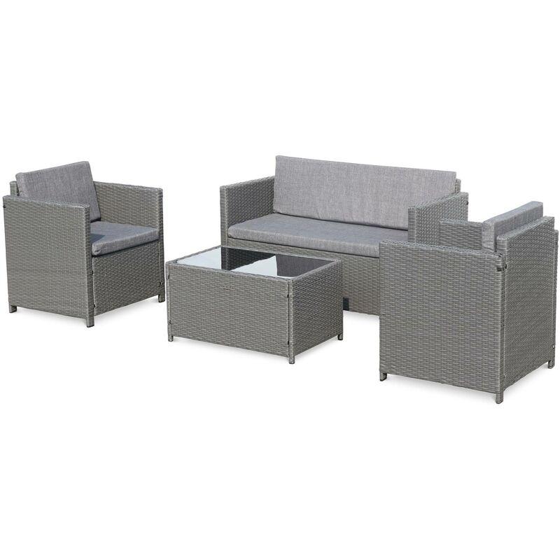 Salon de jardin en résine tressée - Perugia - gris, Coussins gris- 4 places  - 1 canapé, 2 fauteuils, une table basse